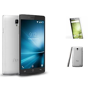 NUU Mobile - Téléphone cellulaire déverrouillé Z8 TPU, 5,5 po, 32 Go, 1,7GHz MTK6752, Android 5.1, blanc brossé Z8WHTBGC