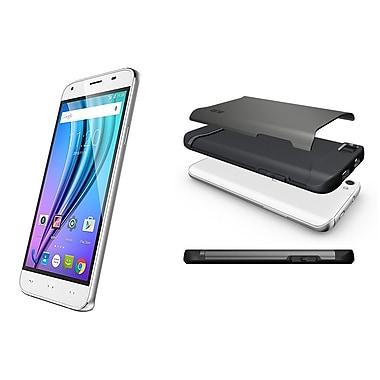 NUU Mobile - Téléphone déverrouillé X4 5 po, 16 Go, 1,3 GHz MTK6735, Android 5,1, blanc lustré (X4WHTBGS)