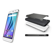 NUU Mobile X4 TUDIA BUNDLE, 5-inch Unlocked Cell Phone, 16 GB, 1.3 GHz MTK6735, Android 5.1, Glossy White (X4WHTBGS)