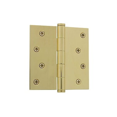 Grandeur 4'' Button Tip Residential Hinge w/ Square Corners; Unlacquered Brass