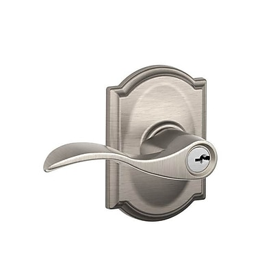 Schlage Accent F Series Keyed Entry Door Lever w/ Camelot Rosette; Satin Nickel