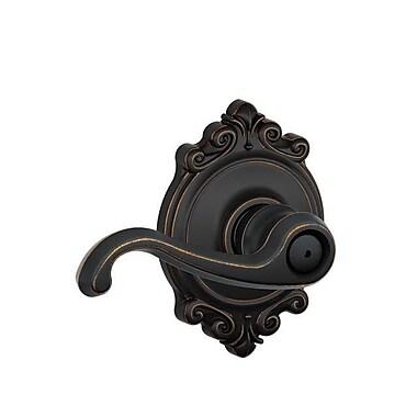 Schlage Callington F Series Privacy Door Lever w/ Brookshire Rosette; Aged Bronze