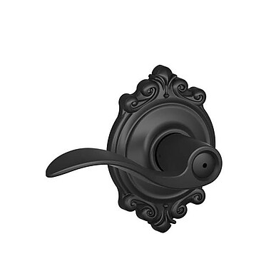 Schlage Accent F Series Privacy Door Lever w/ Brookshire Rosette; Matte Black