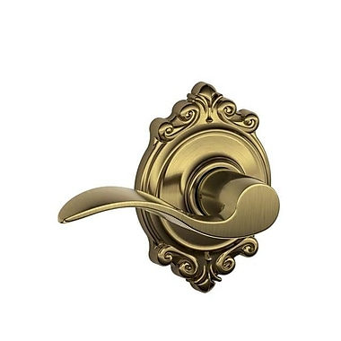 Schlage Accent F Series Passage Door Lever w/ Brookshire Rosette; Antique Brass