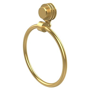 Allied Brass Venus Wall Mounted Towel Ring w/ Dotted Detail; Polished Brass