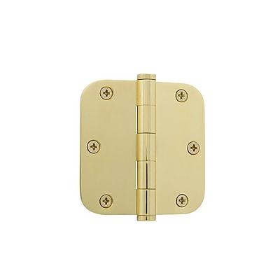 Grandeur 3.5'' Button Tip Residential Hinge w/ 5/8'' Radius Corners; Polished Brass