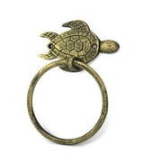 Handcrafted Nautical Decor Sea Turtle Towel Ring; Antique Gold