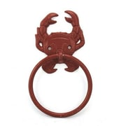 Handcrafted Nautical Decor Crab Towel Ring; Red Whitewashed