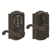 Schlage Camelot FE Series Electronic Touchscreen Electronic Door Lever w/ Flair Lever; Aged Bronze