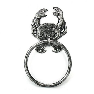 Handcrafted Nautical Decor Crab Towel Ring; Antique Silver