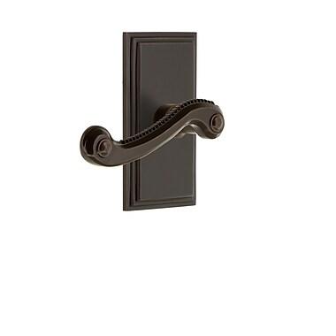 Grandeur Newport Door Lever w/ Carre Plate; Timeless Bronze