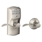Schlage FE Series Camelot Auto-Lock Keypad Entry Leverset w/ Accent Levers; Satin Nickel