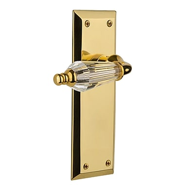 Nostalgic Warehouse Parlour Privacy Door Lever w/ New York Plate; Polished Brass