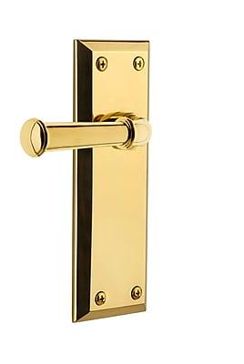 Grandeur Georgetown Door Lever w/ Fifth Avenue Plate; Polished Brass