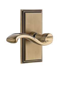 Grandeur Portofino Door Lever w/ Carre Plate; Vintage Brass