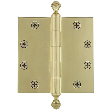 Grandeur 4.5'' Acorn Tip Heavy Duty Hinge w/ Square Corners; Unlacquered Brass