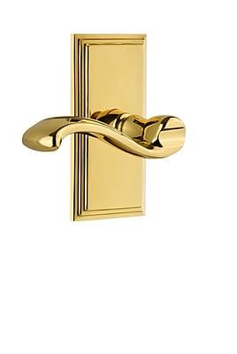 Grandeur Portofino Door Lever w/ Carre Plate; Lifetime Brass