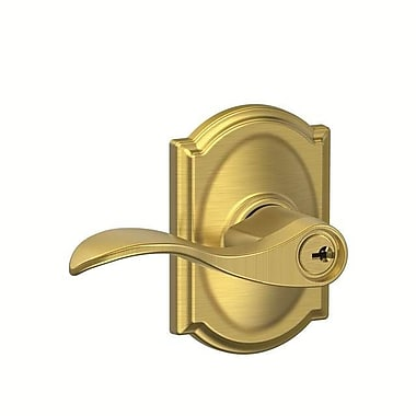 Schlage Accent F Series Keyed Entry Door Lever w/ Camelot Rosette; Satin Brass