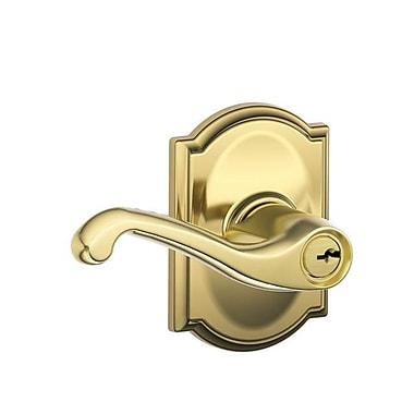 Schlage Flair F Series Keyed Entry Door Lever w/ Camelot Rosette; Bright Brass