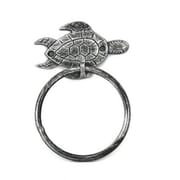Handcrafted Nautical Decor Sea Turtle Towel Ring; Antique Silver