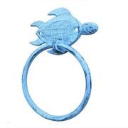 Handcrafted Nautical Decor Sea Turtle Towel Ring; Rustic Dark Blue