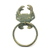 Handcrafted Nautical Decor Crab Towel Ring; Antique Bronze