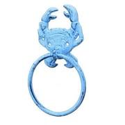 Handcrafted Nautical Decor Crab Towel Ring; Dark Blue