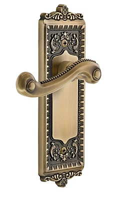 Grandeur Newport Door Lever w/ Windsor Plate; Vintage Brass