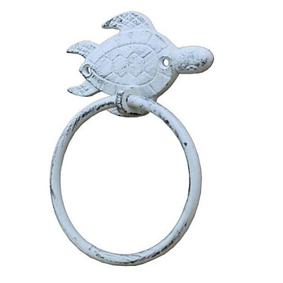 Handcrafted Nautical Decor Sea Turtle Towel Ring; Whitewashed