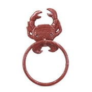 Handcrafted Nautical Decor Crab Towel Ring; Red