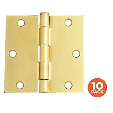 Design House 3.5'' H x 3.5'' W Butt/Ball Bearing Pair Door Hinges (Set of 10); Satin Brass