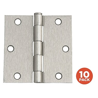 Design House 3.5'' H x 3.5'' W Butt/Ball Bearing Pair Door Hinges (Set of 10); Satin Nickel