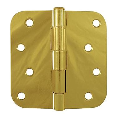 Verona Home Design 4'' H x 4'' W Standard Single Door Hinge; Bright Brass