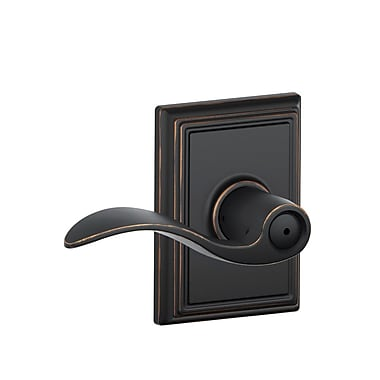Schlage Accent Privacy Lever w/ Addison Trim; Aged Bronze
