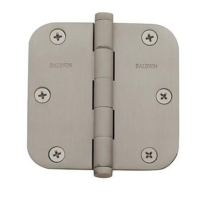 Baldwin 4.7'' H x 2.7'' W Butt Bearing Single Door Hinge; Satin Nickel