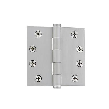 Grandeur 4'' Button Tip Heavy Duty Hinge w/ Square Corners; Satin Nickel