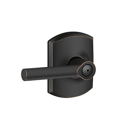 Schlage Broadway F Series Privacy Door Lever w/ Greenwich Rosette; Aged Bronze WYF078281865980