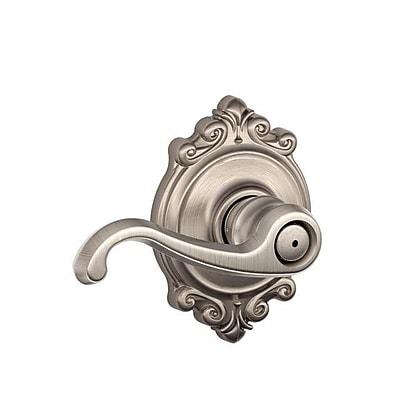 Schlage Callington F Series Privacy Door Lever w/ Brookshire Rosette; Satin Nickel WYF078281866011
