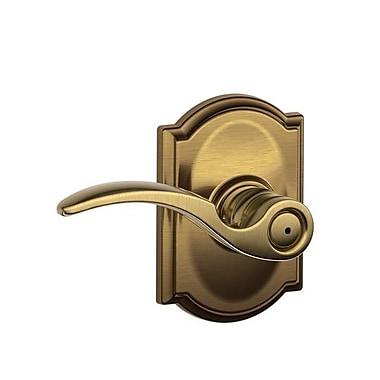 Schlage St Annes F Series Privacy Door Lever w/ Camelot Rosette; Antique Brass