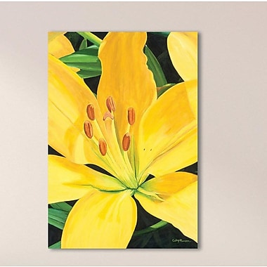 August Grove 'Heart of a Yellow Lily' Oil Painting Print; Metal