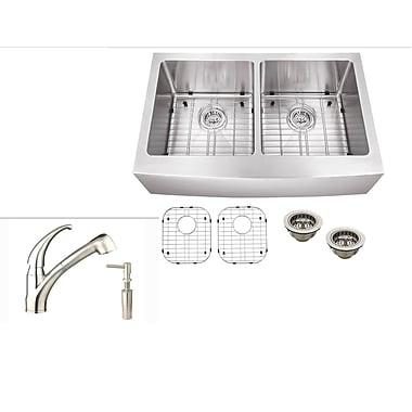 Soleil 32.88'' x 21.25'' Stainless Steel Double Basin Farmhouse Kitchen Sink w/ Faucet