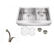 Soleil 36'' x 21.25'' Stainless Steel 16 Gauge Apron Front 60/40 Double Basin Kitchen Sink w/ Faucet