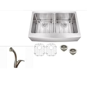 Soleil 32.77'' x 21.25'' Stainless Steel Double Basin Undermount Kitchen Sink w/ Faucet