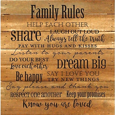 Winston Porter 'Family Rules' Textual Art on Wood in Natural