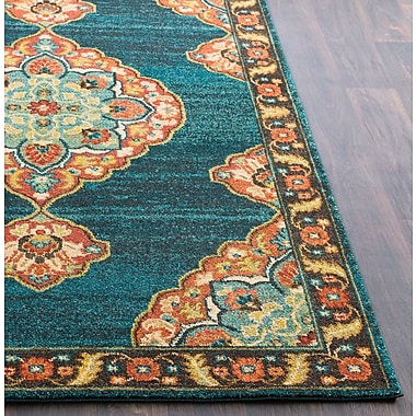 Bloomsbury Market Manitou Traditional Floral Teal Area Rug; 9'3'' x 12'6''