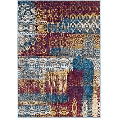 Bungalow Rose Winters Abstract Dark Blue/Dark Purple Area Rug; 5'3'' x 7'3''