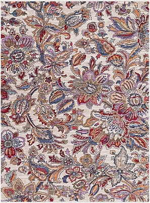 Bungalow Rose Turner Modern Floral Cream/Red Area Rug; 5'3'' x 7'3''