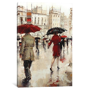 East Urban Home 'Parting On A Paris Street' Vertical Painting on Wrapped Canvas