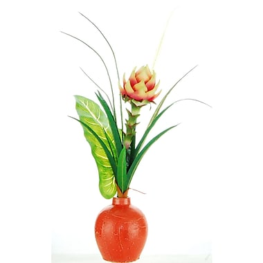 Bay Isle Home Tropical Floral Arrangement in Ceramic Vase