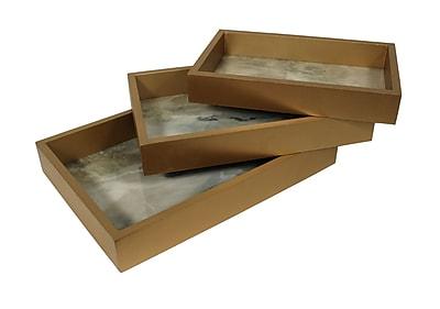 Brayden Studio Boggess Rectangular Wooden 3 Piece Accent Tray Set